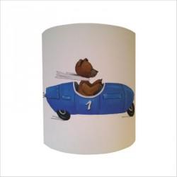 Applique ours en voiture bleue personnalisable