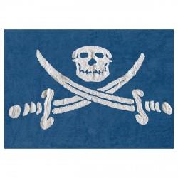 Tapis drapeau pirate bleu