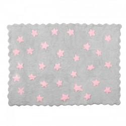 Tapis enfant coton étoiles Eden gris et rose