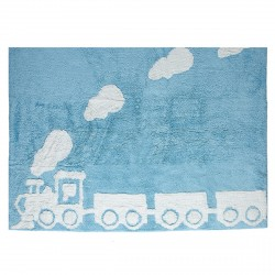 Tapis train bleu