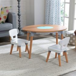 Ensemble table et 2 chaises enfant Mid-Century - Naturel