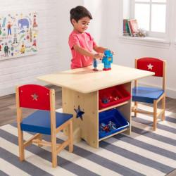 Ensemble table avec rangement et 2 chaises Etoile