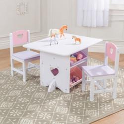 Ensemble table et 2 chaises Coeurs