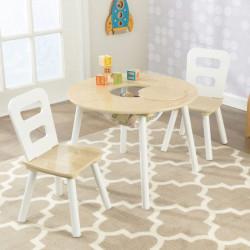 Ensemble table ronde avec rangement et 2 chaises - Naturel/Blanc