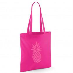 Tote bag fushia ananas rose fluo