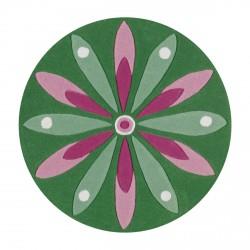 Tapis rond fleur rose et verte