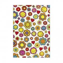 Tapis enfant fleurs smiley multicolore