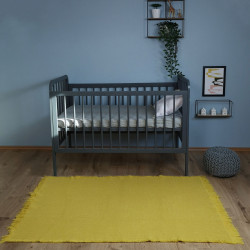 Tapis uni coton lavable Albertine mangue de Nattiot