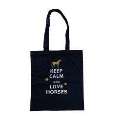 Tote bag keep calm and  love horses