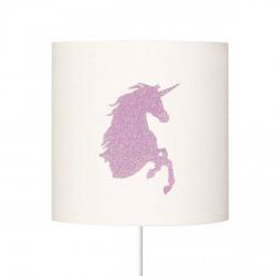 Abat jour tête de licorne pailletée rose pale personnalisable