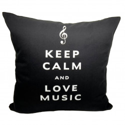 Coussin keep calm and love music