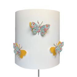 Abat jour ou Suspension papillon 3D rose Eloise jaune