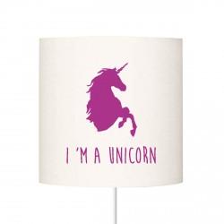 Abat jour I'm a unicorn violet personnalisable