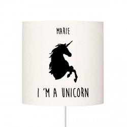 Abat jour I'm a unicorn noir personnalisable