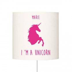 Abat jour I'm a unicorn rose vif personnalisable