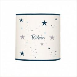 Abat jour ou suspension étoiles magiques bleu nuit et gris cylindrique