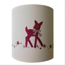 Abat jour ou Suspension bambi rose pailletée personnalisable