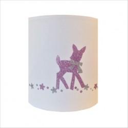 Abat jour ou Suspension bambi rose pale pailletée personnalisable