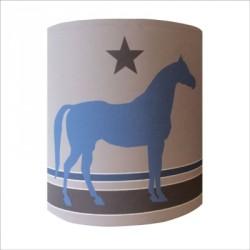 Abat jour ou Suspension cheval bleu personnalisable