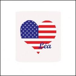 Abat jour ou Suspension coeur drapeau americain personnalisable