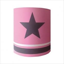 Abat jour ou Suspension etoile grise fond rose rayé rose et gris personnalisable