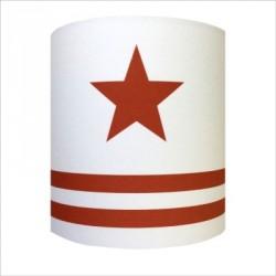 Abat jour ou Suspension etoile rouge fond blanc rayé personnalisable
