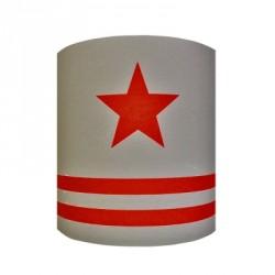 Abat jour ou Suspension etoile rouge fond gris rayé personnalisable