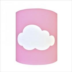 Abat jour ou Suspension nuage blanc fond rose personnalisable
