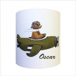 Abat jour ou Suspension ours en avion vert personnalisable