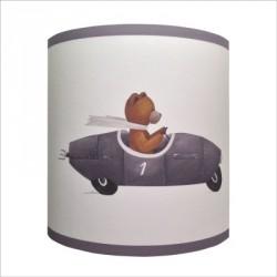 Abat jour ou Suspension ours en voiture grise personnalisable