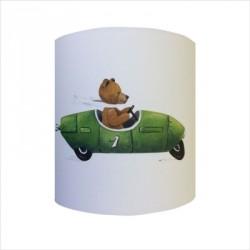 Abat jour ou Suspension ours en voiture verte personnalisable