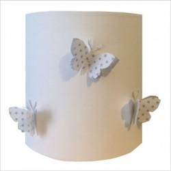 Abat jour ou Suspension papillon 3D blanc étoilé et argent personnalisable