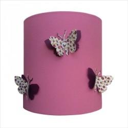 Abat jour ou Suspension papillons 3D liberty violet fond rose moyen