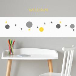Frise papier peint blanc motif bulles et étoiles gris jaune
