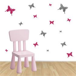 Stickers papillons pailleté rose et argent