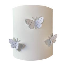 Abat jour ou Suspension papillon 3D blanc étoilé et argent