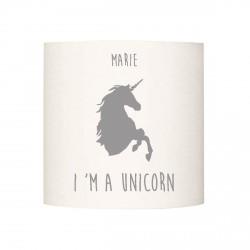 Applique lumineuse I'm a unicorn gris personnalisable