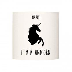Applique lumineuse I'm a unicorn  noir personnalisable