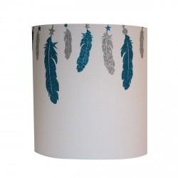 Abat jour ou suspension plumes argent et couleur pailletées personnalisable