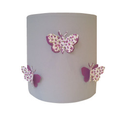 Suspension papillons 3D liberty violet fond gris