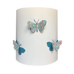 Applique papillons 3D liberty Eloise aile bleu canard