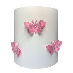 Applique papillons 3D liberty vichy rose
