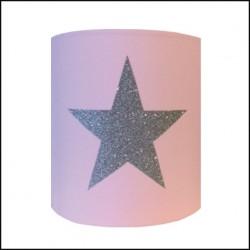 Applique étoile pailletée argent sur fond rose personnalisable