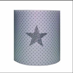 Applique blanche étoilée avec étoile pailletée argent