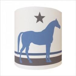 Applique cheval bleu fond blanc personnalisable