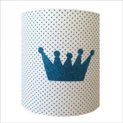 Applique couronne bleu pailletée fond pois bleus