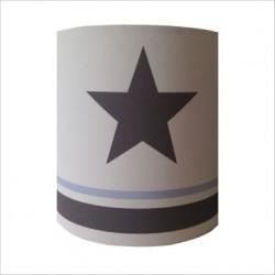 Applique etoile grise fond blanc rayé bleu ciel et gris personnalisable