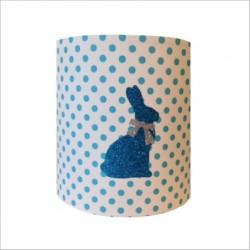 Applique lapin bleu paillete fond  à pois