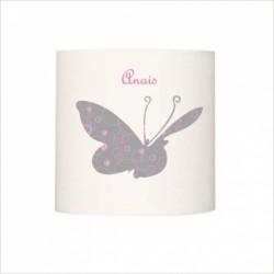 Applique lumineuse enfant papillon géant  rose et gris