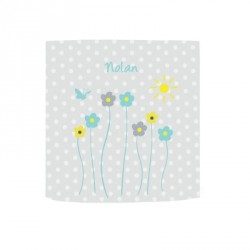 Applique lumineuse fleurs de printemps fond à pois gris